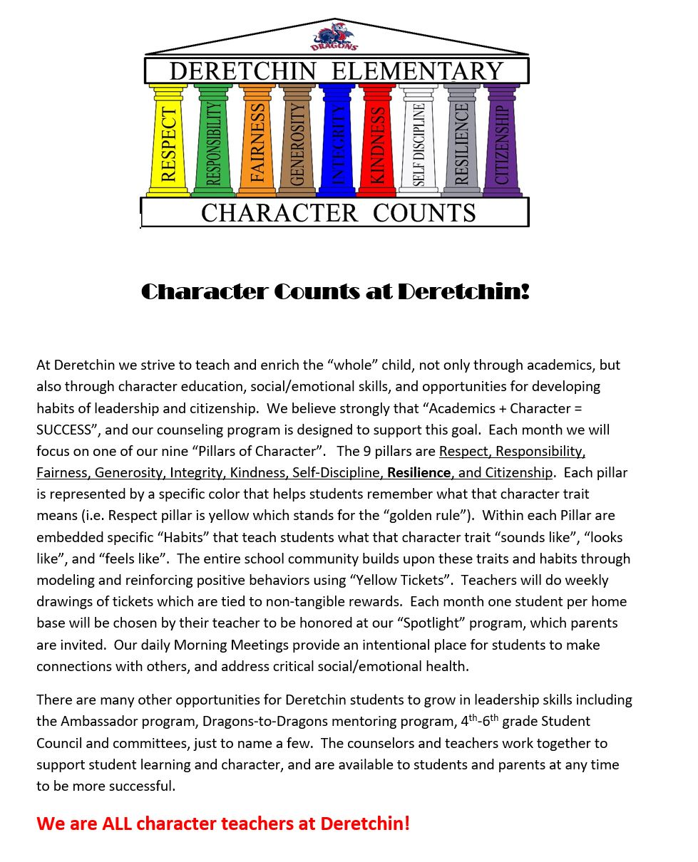Character Counts at Deretchin
